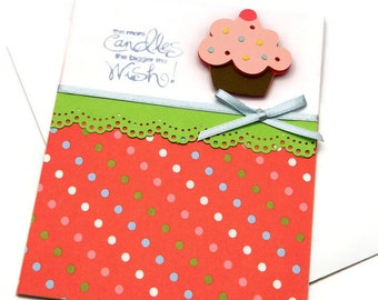 Bday Cards For Her - Happy Birthday Card - Cupcake Bday Card - Friend Birthday Card - Cards For Mom - Thoughtful Wishes - Handmade Card
