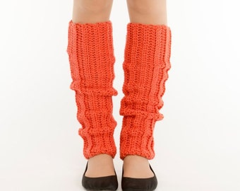 Coral Knit Leg Warmers, Crocheted Leggings, Handmade Women's Warm Winter Accessory, Dance Wear, Exercise, Ballet, Jazz, 80's Style