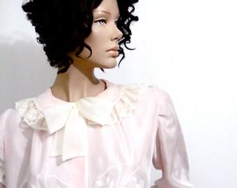 1940s Lingerie Dressing Gown // Pink and White // Odette Barsa Vintage 40s // Robe Peignoir ML