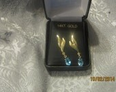 14k Blue Topaz Earrings