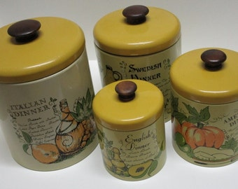 Ransburg Kitchen Canister Set With Menu Graphics