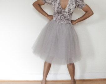 Tulle Skirt | Gray Knee-length Tutu Cute Skirt, Adult Tulle Skirt, Adult Tutu, Tulle Skirt Women, Tulle Bridesmaid Skirt