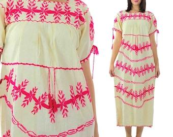 Oaxacan Dress Vintage 70s Boho Dress Mexican Dress Embroidered Dress Festival Dress Hippie Dress Bohemian Dress Floral Dress Maxi Dress