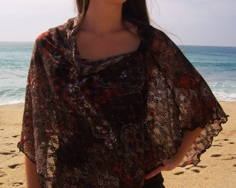 """French Designer Lace """"Earthy Romantic"""" Cowl Neck Poncho Scarf"""