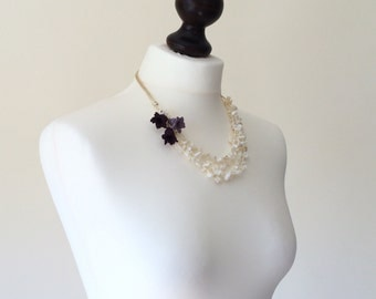 Multistrand Necklace, Pearl Beaded Necklace, Layering Necklace, Pearl Strand Collar, Crochet Necklace, Wedding Jewelry, Bridal Collar