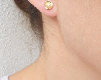 Summer SALE - Small gold stud earrings, Wire wrapped stud earrings