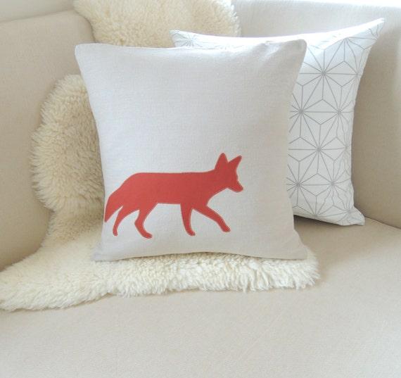 Modern Rustic Pillow : Fox Pillow Cover Rustic Modern