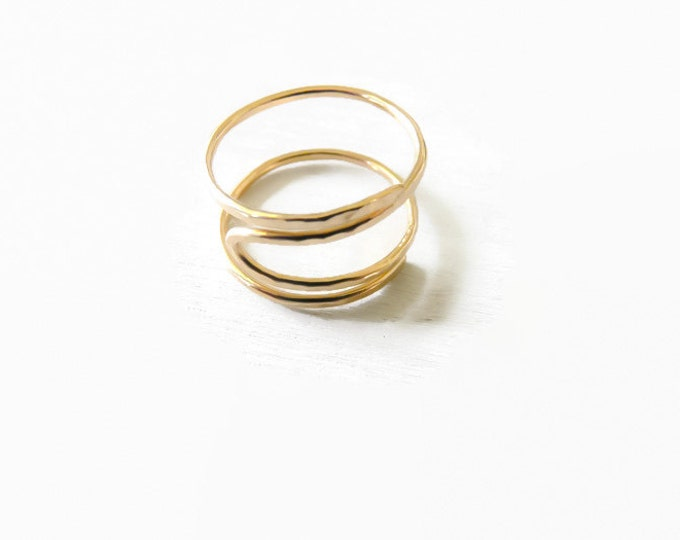 Gold Filled Index Ring Adjustable Hammered Ring Handmade Jewelry For Women Jewelry Gifts Under 25