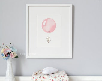 Rose Pink, Balloon Art, Pastel, Dusty, Soft, Pink, Nursery Art, Girl's Bedroom, Kid's Gift, Christening Gift, Birthday Present