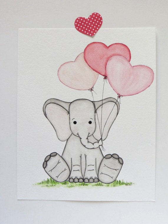 Baby Room Drawing: Nursery Art Watercolor Painting Baby Elephant Kids Wall