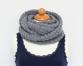 Sale! Infinity scarf grey circle scarf from acrylic yarn loopscarf shawl cowl gray graphite slate