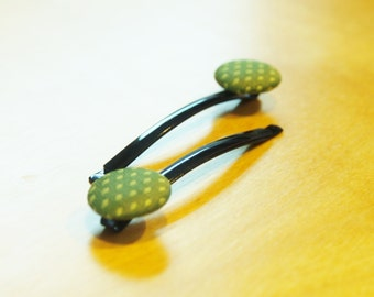Fabric Button Bobby Pins - Green Diamonds