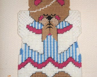 Angel Bear  Wall Hanging in Plastic canvas