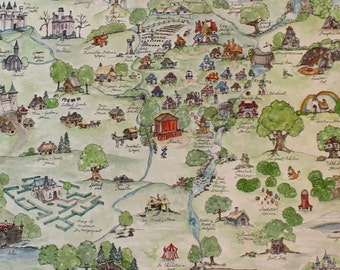 Fantasy Map - Watercolor & Ink - Specialty Aerial Custom Map, Smurf World - Large Watercolor Art Made to Order