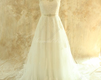Backless A line tulle lace wedding dress with elegant beading sash