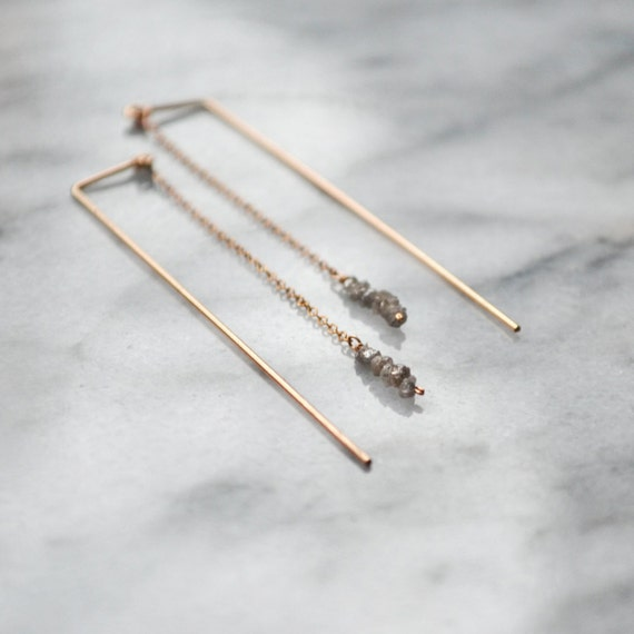 Pendulum earrings // Grey raw diamond bar earrings
