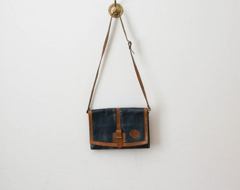 70s navy and leather envelope purse
