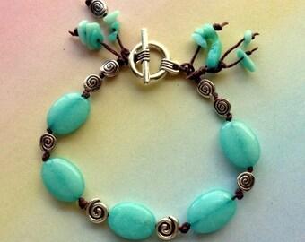 Aquamarine Jade, Amazonite, and Tibetan Silver Knotted Bracelet - Vegan Knotted Bracelet