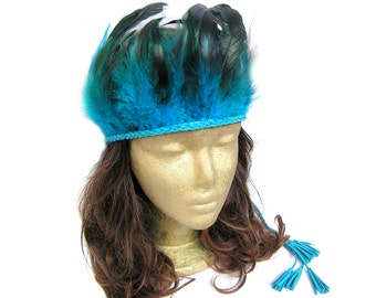 Feather Headdress, Bohemian Feather Headband, Boho Headband Feather, Indian, Tribal, Native, Boho, Hippie, Gypsy, Royal Blue, Beach Party