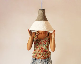 Paper mache lamp Cypisek,  lamp, pendant light, hanging lamp, pendant lamp, white, paper lamp, industrial lamp, paper pulp lamp, eco