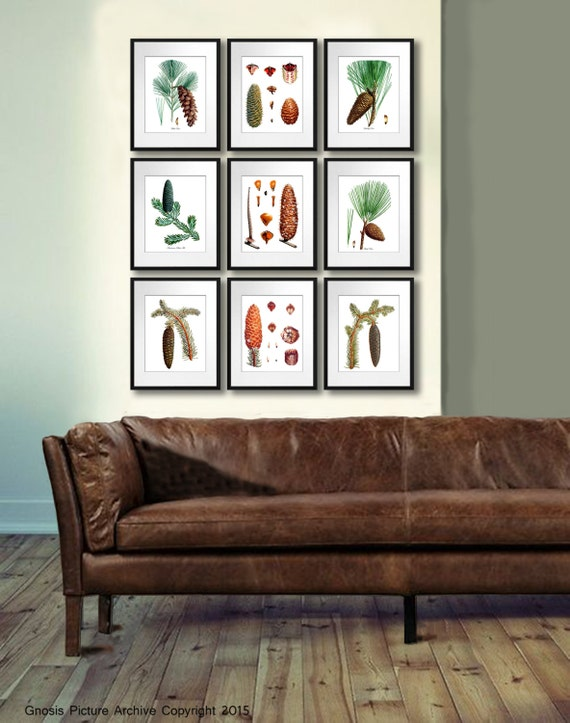 Rustic Wall Decor Set : Forest decor pinecone wall rustic set of pine