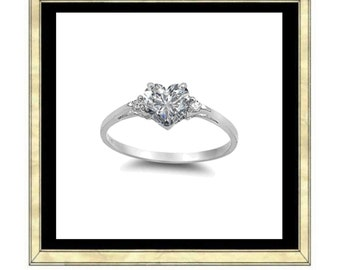 Heart Ring .925 Sterling Silver LOVE with a heart shaped cubic zirconia diamond