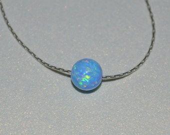 Opal Jewelry, opal ball/bead necklace, blue opal necklace, opal Silver necklace, simple/elegant tiny dot necklace