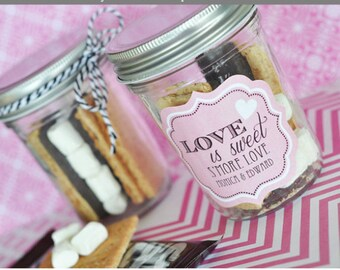 Smores Labels - Smores Kit Favors Stickers - Wedding Smores Bar Smore Wedding Favor Kit Stickers Smore Love Labels (EB3020MDT) - 24 STICKERS