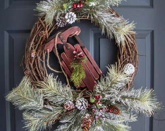 Winter Door Wreaths with Wooden Snow Sled | Winter Wreath | Gift Ideas | Pine Wreath | Rustic Wreath | Winter Decor | Outdoor Wreath | Gift
