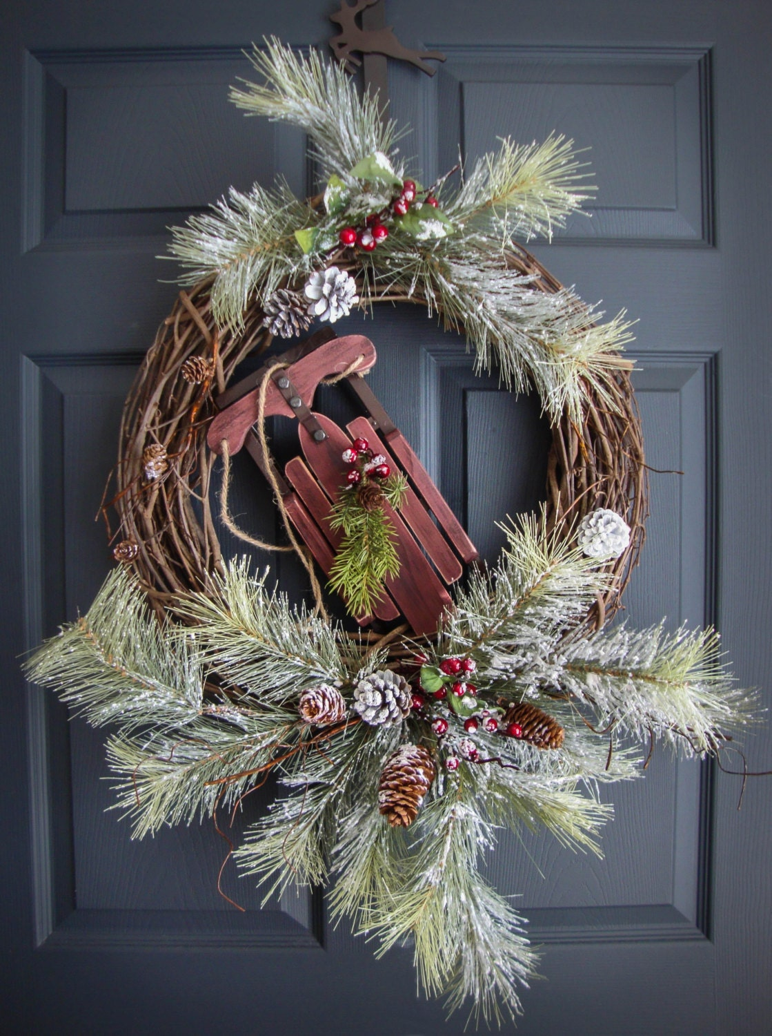 Winter Door Wreaths With Wooden Snow Sled Winter Wreath