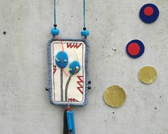 Two sided fabric necklace with polymer clay beads, fimo beads / textile jewelry, fabric pendant / two sided necklace tube beads, long cord