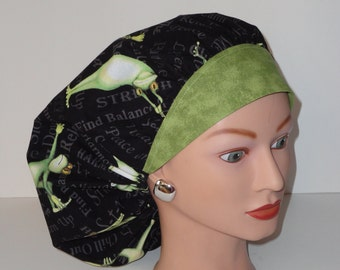 The Perfect Size Bouffant Scrub Hat...Yoga Frog Print