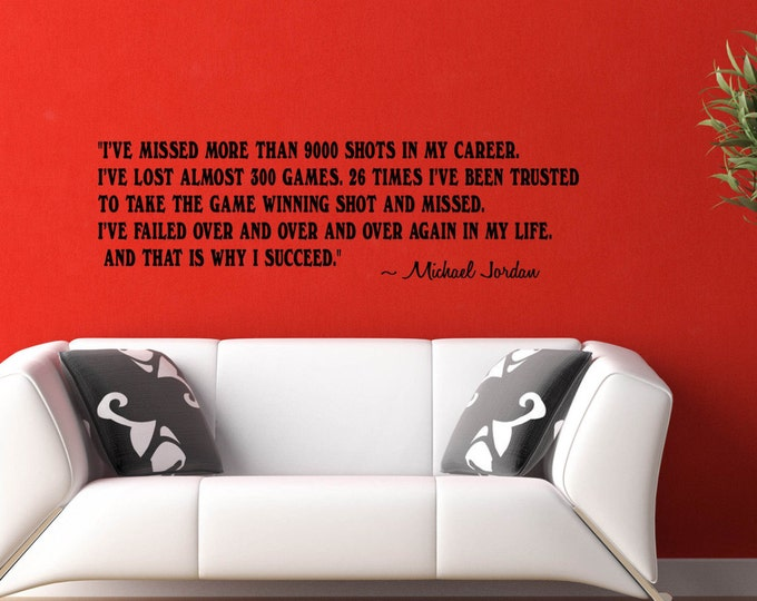 Michael Jordan I SUCCEED Wall DECAL Success Quotes and Phrase Vinyl sticker home decor Basketball life advice sports