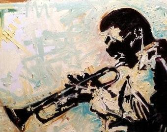 Miles Davis Palette Knife Impasto Painting by Matt Pecson Original Painting on Canvas Music Art Urban Art Jazz Art MADE TO ORDER
