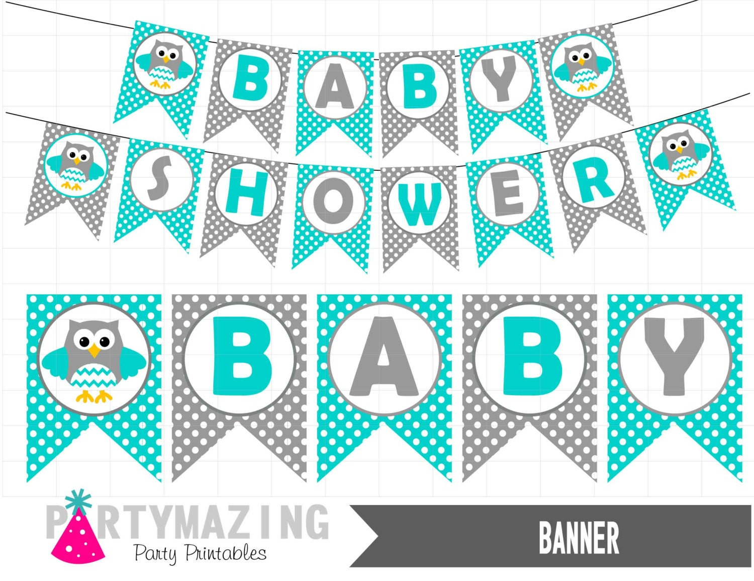 Owl Baby Shower Party Banner DIY Printable Turquoise Blue
