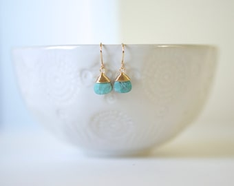 Turquoise and Gold Wire Wrapped Earrings
