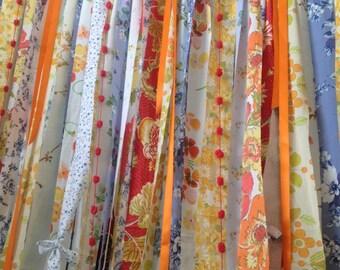 Boho Curtains Rustic Rag Garland Fabric Backdrop  Ribbon Curtain  Dorm Gypsy Hippy
