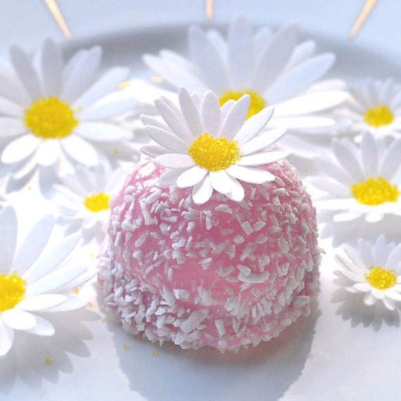 Cake Decoration Daisy : Edible White Daisies 3D Flowers Wafer Paper Boho Wedding Cake