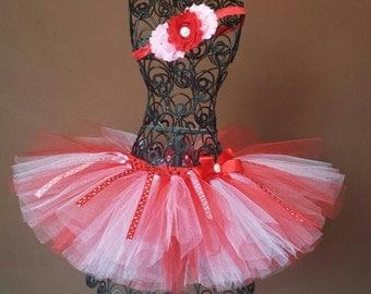 SALE Valentine's Day Red, Pink & white tutu headband set,toddler,newborn,infant, smash cake set, 1st birthday