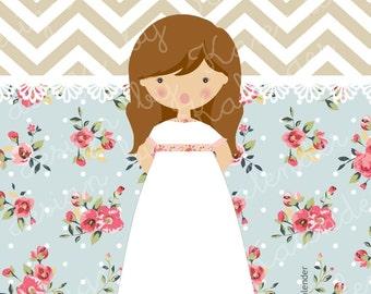 First Communion or Confirmation Girl Invitation NLC-02. A la Carte. DIY Printable.