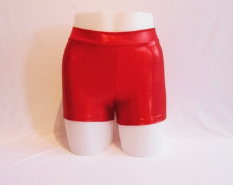 Booty Shorts - Red Mystique Lycra - Roller Derby - Mid Rise waist - Plus Size Available