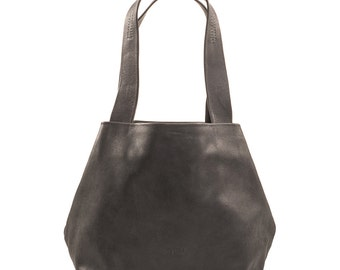 black leather bag - black leather handbag - black leather tote purse - black leather shoulder bag - black leather tote bag - CLFB