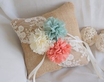 Rustic Burlap Ring Bearer Pillow - Peach and Mint Wedding Pillow - Lace Pillow