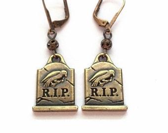 Gold Tombstone Earrings - Halloween Earrings - Gravestone Earrings -  Halloween Jewelry - The Raven - Epsteam