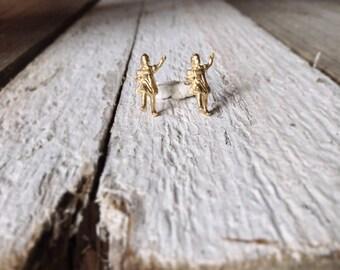 Gold miniature stud earrings -Dainty sall earrings in gold plated-Girl figure post earrings- Tiny earrings-Gift under 35