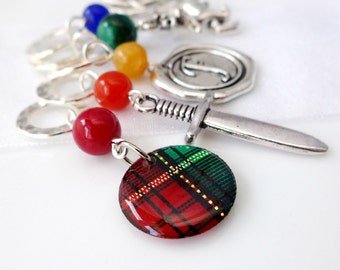 Je Suis Prest - Outlander Series - Five Handmade Stitch Markers - 6.5mm (10.5 US) - Limited Edition