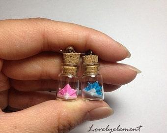 Bottle necklace, origami samurai, miniature, japaenese hat