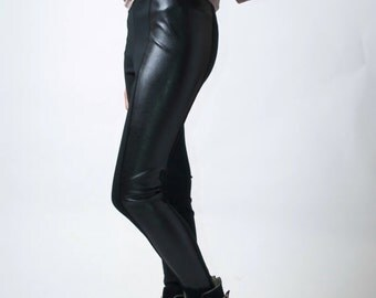 Black Leggings / Faux Leather Leggings / Black Tights / Extra Long Pants / Leather Pants / by marcellamoda - MP027