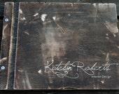 Distressed Wooden Birch Portfolio + Custom Engraving + 10 Sheet Protectors