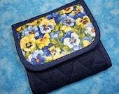 Women Wallet Tea Bag Wallet Pansy Tea Wallet Travel Floral Wallet Small Wallet Tea Bag Holder Tea Carrier Ladies Wallet Cloth Wallet Velcro
